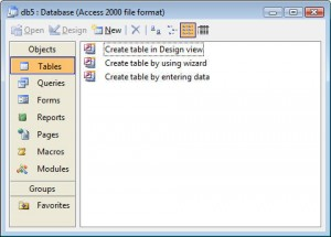 Database Window in Access 2003