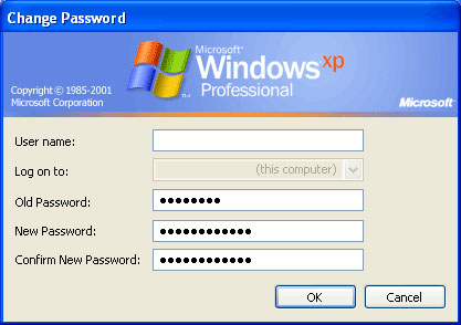 Windows Change Password Form