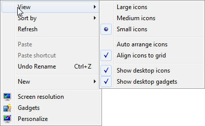 Windows 7 desktop context-menu