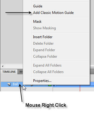 Insert a Cassic Motion Guide in Flash CS4