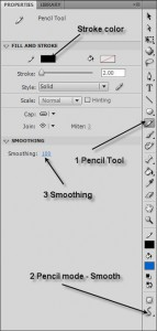 Pencil Tool Smooth Mode in FlashCS4
