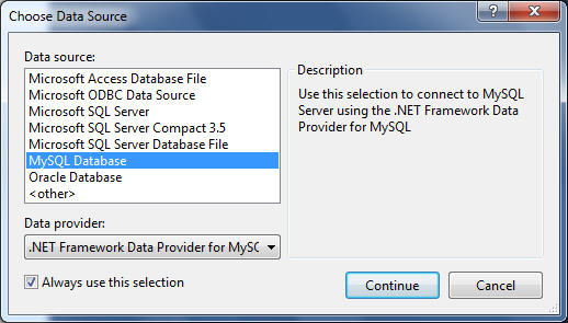 How to connect to MySQL database from Visual Studio VS2010