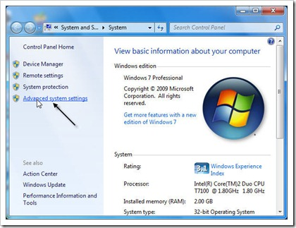System window in Windows 7