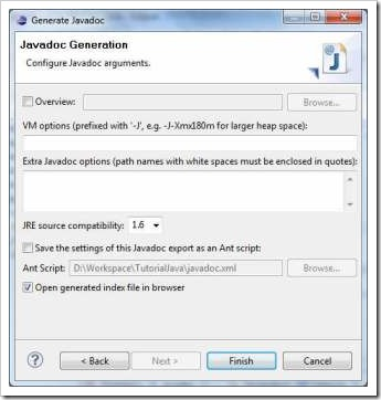 Generare JavaDoc in Eclipse - Pasul 3