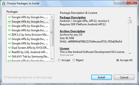 Using Android SDK Manager to download the Android SDK Components