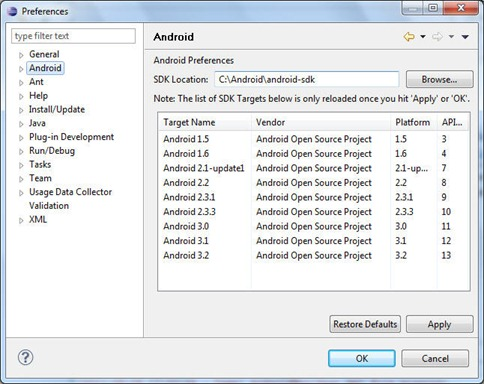 Configurare Eclipse ADT plugin