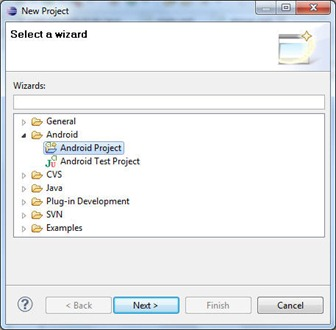 Categoria de proiecte Android in fereastra New Project din Eclipse