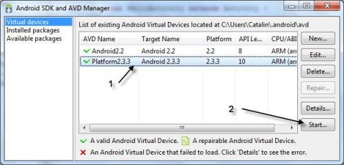 Lansare emulator Android Virtual Device din consola Android SDK and AVD Manager