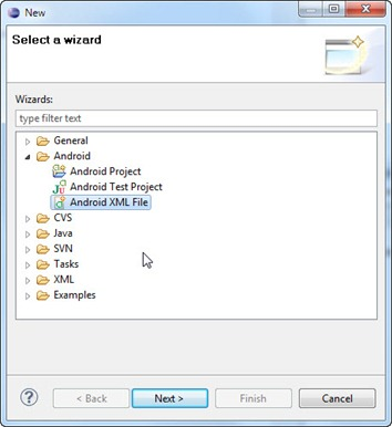 Add Android XML File dialog