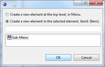 New menu element dialog