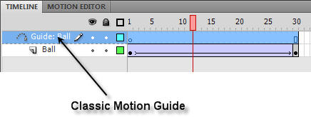 Classic Motion Guide layer in Flash CS4