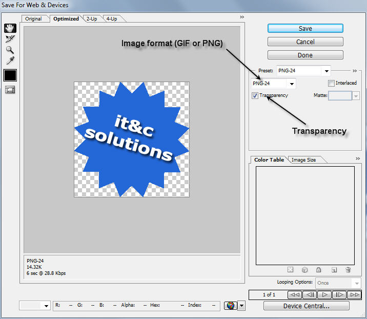 Save for Web & Devices option in Photoshop CS3 / CS4