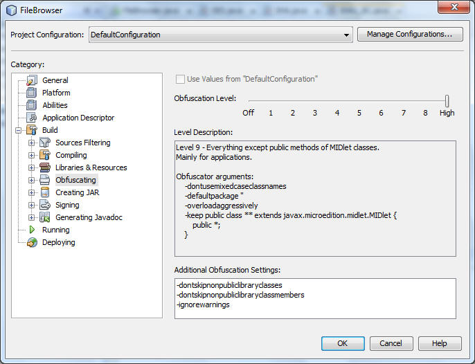 NetBeans Obfuscation Options