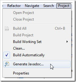 Generate JavaDoc in Eclipse