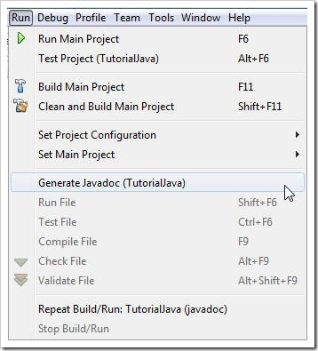 Generate JavaDoc in NetBeans
