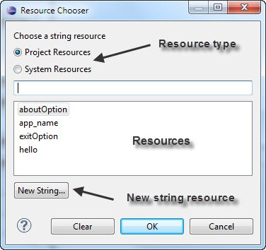 Resource Chooser Dialog in the Android Menu editor